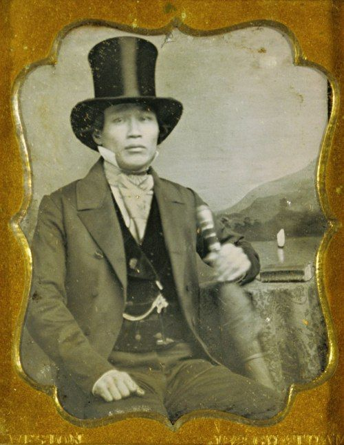 "fishstickmonkey:  "" James P. Weston (American, active South America about 1849 and New York 1851-1852 and 1855 -1857)  [Portrait of an Asian Man in Top Hat]  c. 1856 Daguerreotype, hand-colored 1/9 plate  The J. Paul Getty Museum, Los Angeles  """