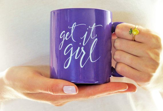 Imperfect Get it, girl Inspirational Mug   This listing is for our normal Get It Girl Mugs that have minor flaws. These mugs have either small blemishes in the purple paint, in the design, or a small scratch somewhere on the mug. These blemishes are extremely minimal, and the mugs are still gorgeous, making great gifts for yourself or someone who needs a vibrant encouragement. Normally $16.50, these mugs are listed at $10.00 for their minor imperfections. :)   This mug was inspired by the…