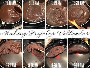 Making Frijoles Volteados. Step by step pictures of how to make this delicious black bean dish.