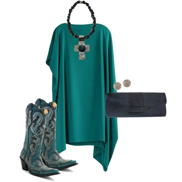 Austin by Rodeo-chic on Polyvore; Cowboy Boots by @corralboots; Earrings by @hoh1960; Western, country, turquoise, cross necklace