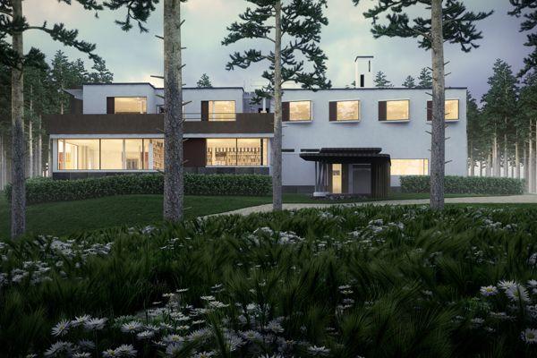 Digital Remake of Alvar Alto's Villa Mairea at dusk.