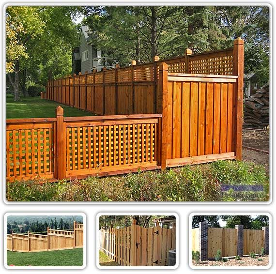 Cedar Fence; using framing and lattice work; with caps