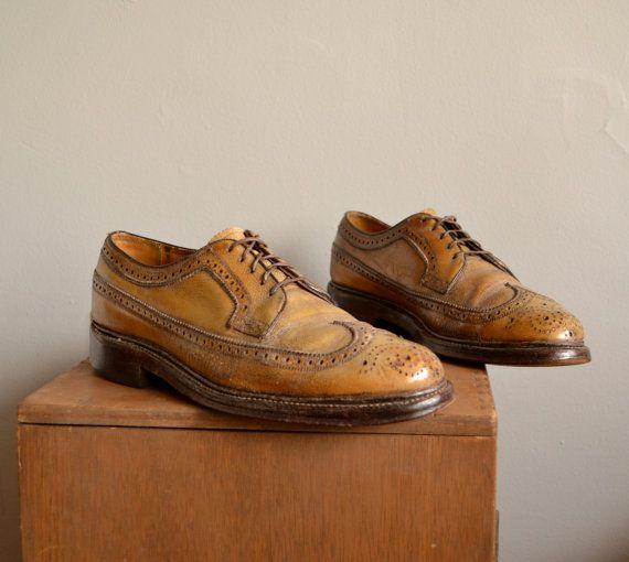 Unique Vintage Florsheim Imperial Wingtip Dress Shoes mens