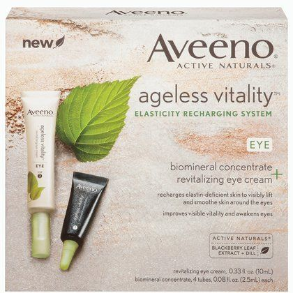 Aveeno Ageless Vitality  Revitalizing Eye Treatment by Aveeno. $19.99. Diminished look of puffiness and dark circles. Improved brightness, dark circles and an overall lifted appearance around the eyes. Reduced appearance of under-eye and crow's feet lines. Diminished sagging around the eyes. Increase elastin production by up to 5x and awaken skin?s visible vitality. Now you can revitalize your eyes in just 4 weeks: 100% of women saw improved brightness, reduced dark ...