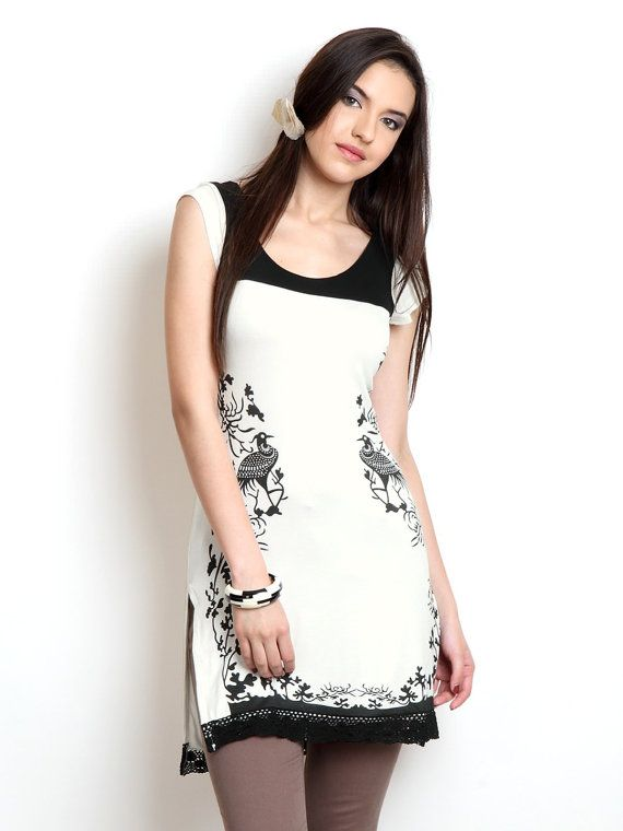 Women White & Black Printed Kurta by ShopOfIndia on Etsy, $69.99