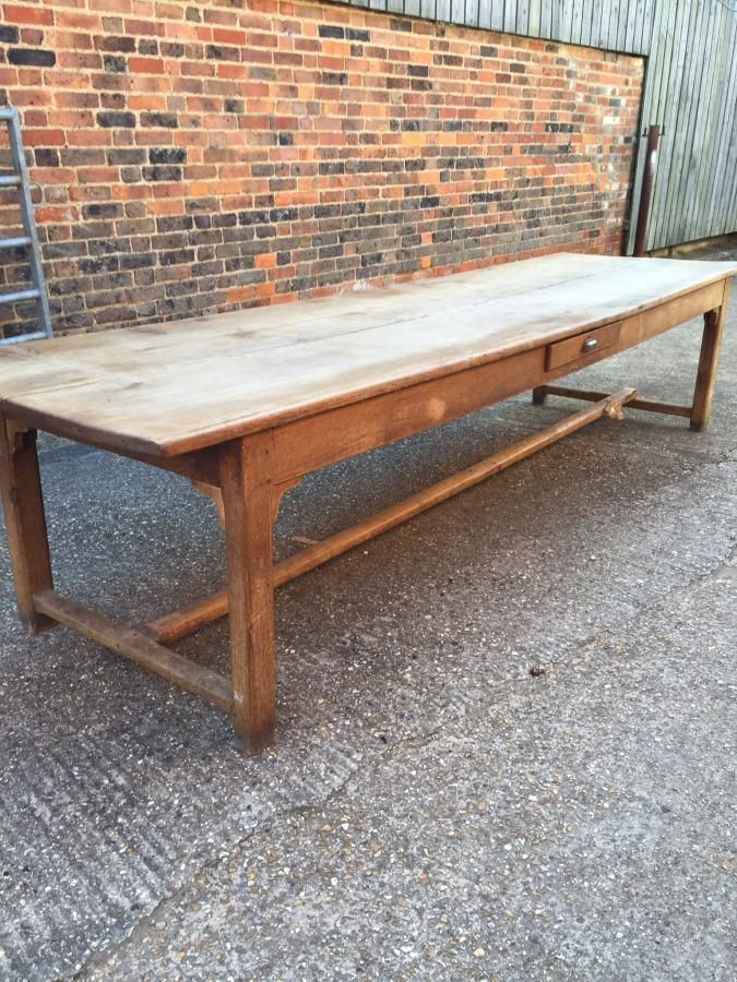 A really lovely unrestored two plank antique oak refectory table with h stretcher lots of character and lovely top. This table would seat 14 people comfortably.