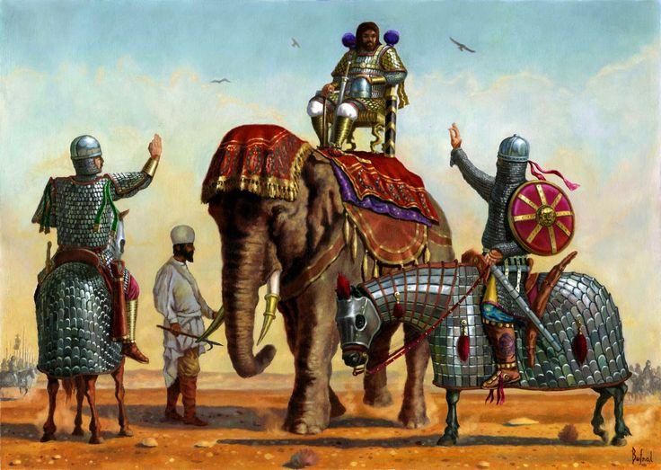 General sassânida sendo saudado por dois oficiais persas de alto rank, momentos antes da batalha de al-Qādisiyyah, 636 d.c (Por ?)