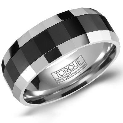 Mens Tungsten Ring With Black Ceramic