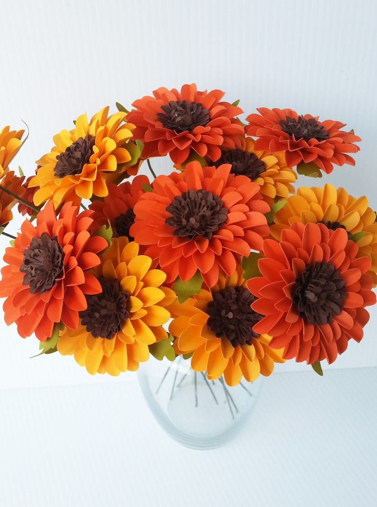 Paper Flowers - Sunflowers  -  Orange and Yellow - Weddings - Birthdays - Special Events - Mix Colors - Set of 24 - Made To Order by morepaperthanshoes on Etsy https://www.etsy.com/listing/245575732/paper-flowers-sunflowers-orange-and