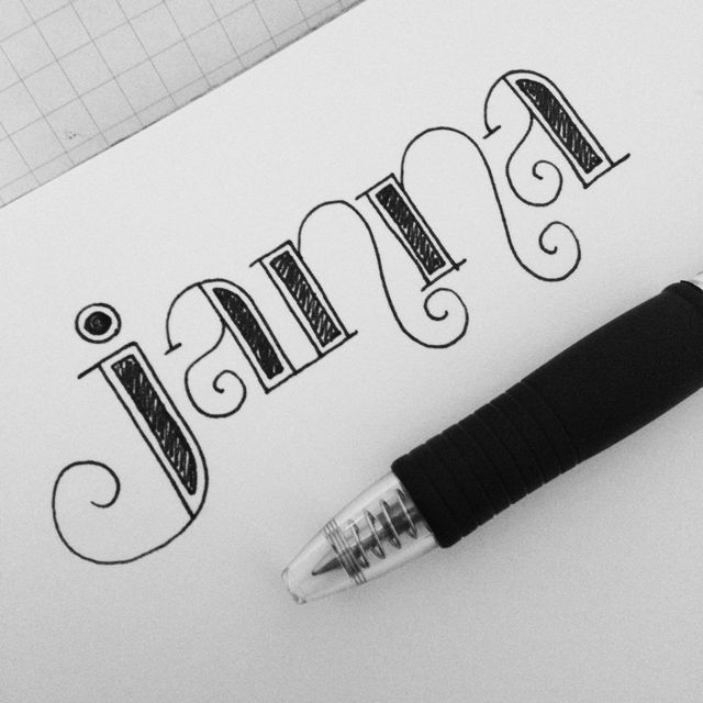 "I doodled my own name, as I'm apt to do when bored, but I actually really liked how it turned out. I dubbed it a ""lettering selfie"" since I lettered my own name. :) Here it is on Instagram. Time it..."