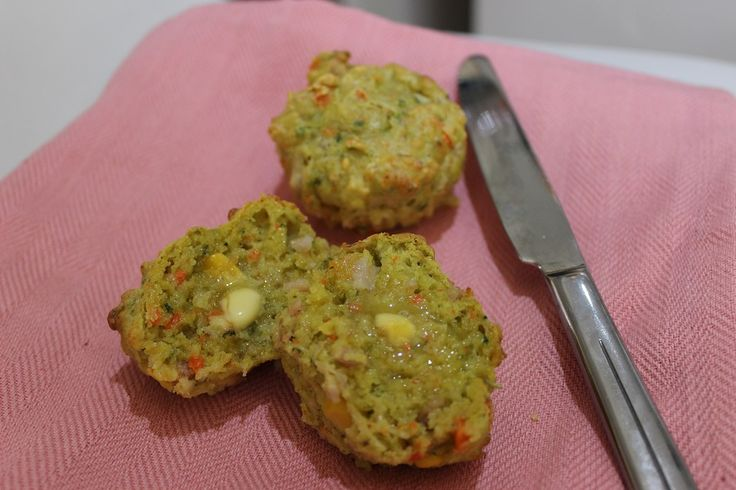 Savoury muffins (with lots of veg) 150g block cheese 1 carrot 2 kale or spinach leaves 60g frozen corn 4 rashes of bacon, diced 220g milk of choice 280g SR flour 1 tblsp mixed herbs 2 eggs Pinch salt
