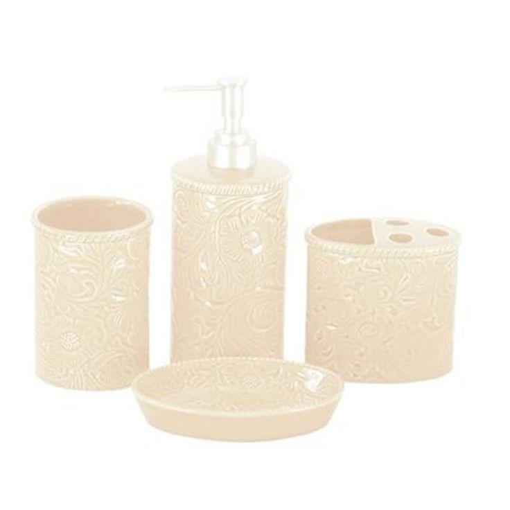 Cream Bathroom Accessories Set Elegant Glistening Ceramic Cream