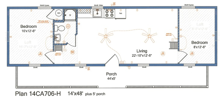 Log cabins cape cod 14x48 2 bedroom 2 lofts 14ca706 h for Cape cod floor plans with loft