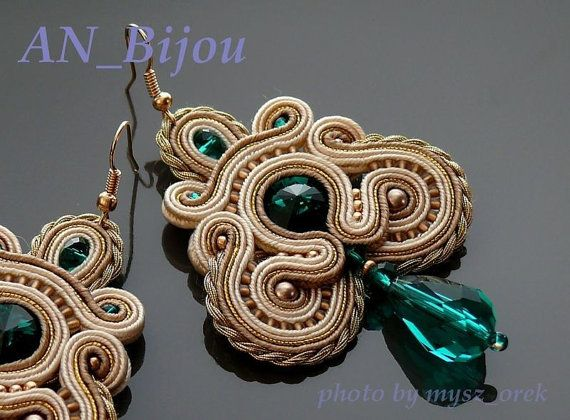 Beige gold green earrings Soutache. от ANBijou на Etsy