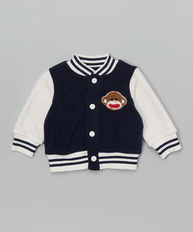 Look at this #zulilyfind! Navy Sock Monkey Varsity Jacket - Infant #zulilyfinds
