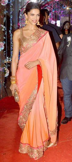 2 Feb, 14: Deepika Padukone in an ombre Jade Saree & gold blouse at Wedding Reception of Hema & Dharmendra's daughter Ahana & Vaibhav Vora