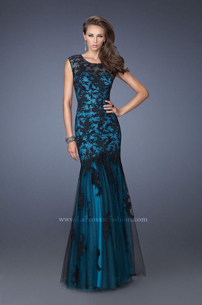 Aqua and Black Formal Dresses