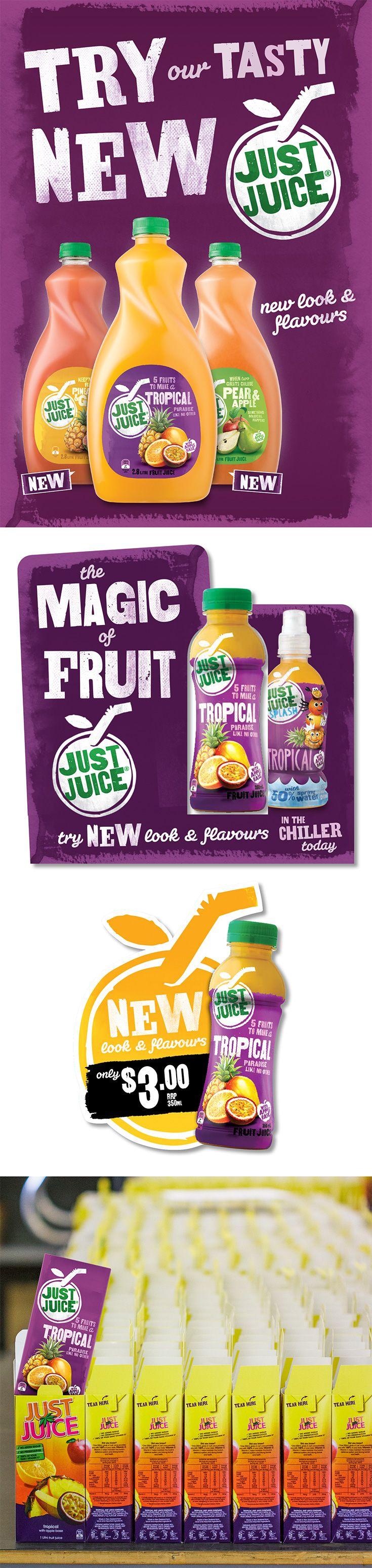 Just Juice Rebrand. Poster, Countertop Glorifier, Fridge Decal and Trade Presenter.
