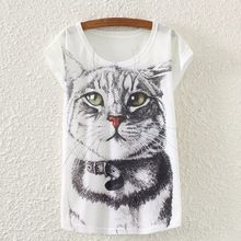 2016 hot sale unisex cat 3d print cotton t shirt