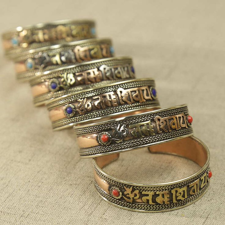 BB-198 Tibetan Mantras Amulet Bangle Rose Copper Six Words Open Cuff OM MANI PAD ME HUM