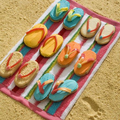 Sweet Sandals from oval cookies and licorice or a gummy worm