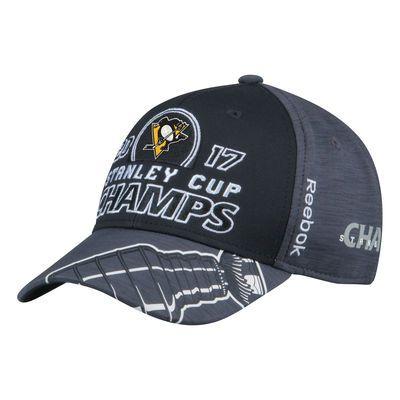 Men's Pittsburgh Penguins Reebok Gray/Black 2017 Stanley Cup Champions Locker Room Adjustable Hat