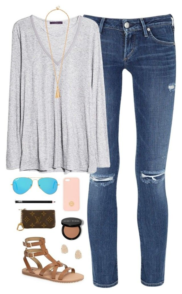 tuesday by classically-preppy ❤ liked on Polyvore featuring Citizens of Humanity, MANGO, Sam Edelman, Ray-Ban, NARS Cosmetics, Tory Burch, Kendra Scott, Louis Vuitton, womens clothing and women
