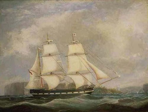 Ship in Full Sail Passing Sydney Heads by Jospeh Fowles. Permission by the Australin National Library.