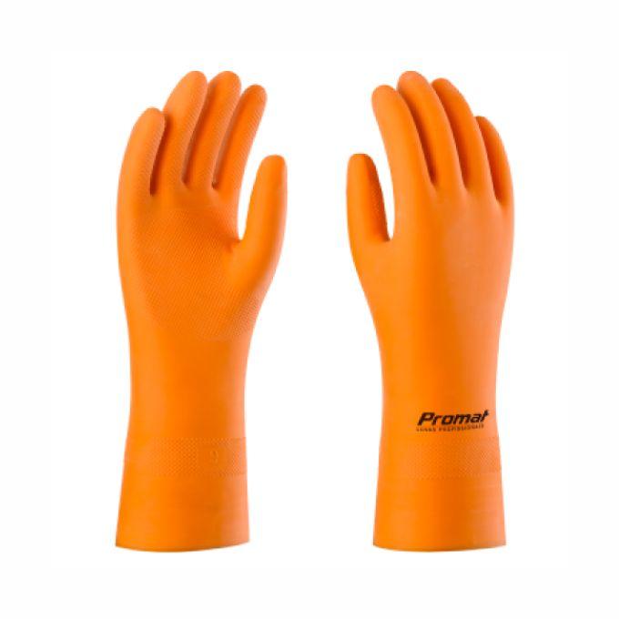 Fabricante: PROMAT  Tamanhos Disponíveis: G  Descrição:  Luva de segurança confeccionada em borracha natural, revestida internamente com flocos de algodão, com acabamento antiderrapante na palma, face palmar dos dedos e pontas dos dedos.  PROTEÇÃO DAS MÃOS DO USUÁRIO CONTRA AGENTES ABRASIVOS, ESCORIANTES, CORTANTES E PERFURANTES E CONTRA AGENTES QUÍMICOS, TAIS COMO CLASSE A - TIPO 2: AGRESSIVOS BÁSICOS; CLASSE B - DETERGENTES, SABÕES, AMONÍACO E SIMILARES E CLASSE C - TIPO 3: