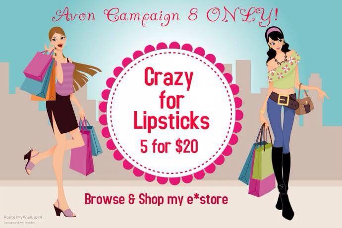 Crazy for lipstick visit www.youravon.com/tcorder