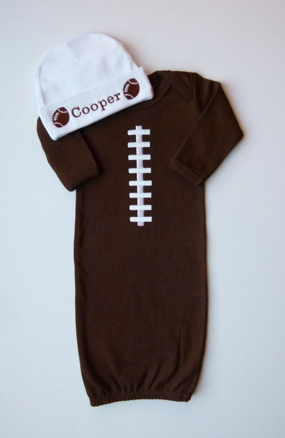 Baby Boy Layette Gown Football With Personalized by mamabijou, $34.50