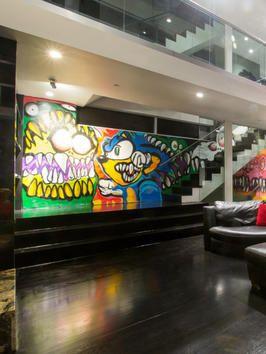 Chris Brown's Los Angeles Bachelor Pad Chris Brown's graffiti interior