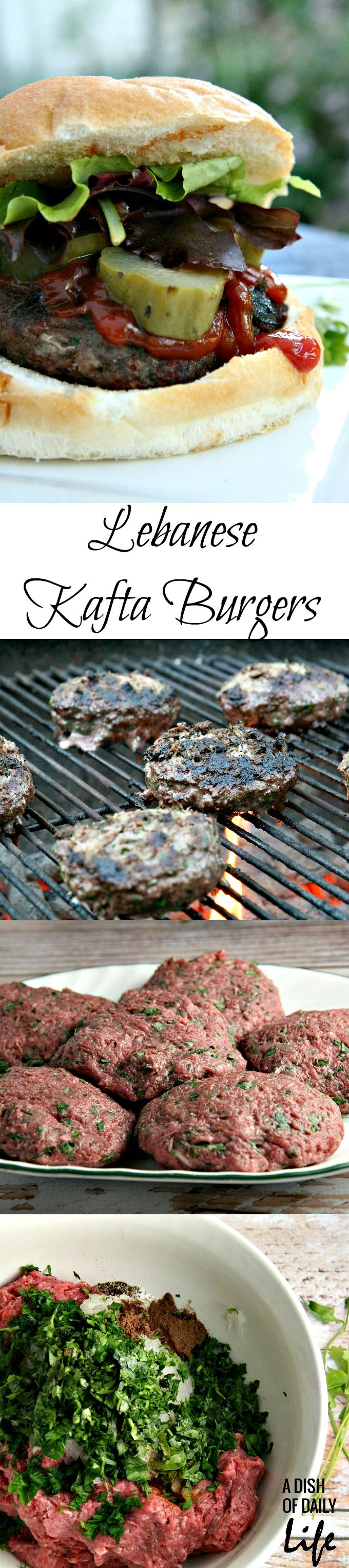 "Traditionally served ""finger-shaped"" on a skewer, this grilling recipe for Lebanese Kafta Burgers with Lamb and Beef combines Middle Eastern roots with a classic hamburger!"