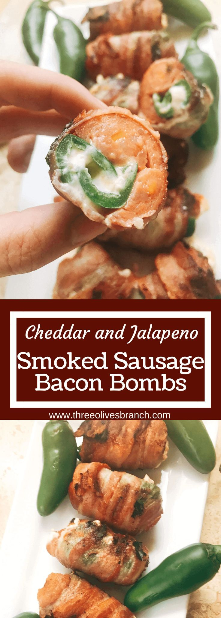 Grill up some of these smoky, cheesy treats for your next summer party. Eckrich Cheddar and Jalapeno Smoked Sausage is stuffed with a jalapeno pepper (which has been filled with cheddar and cream cheese), then rolled in bacon and grilled until crispy. They make such a fun appetizer or dinner for the pork lovers. A fun twist on a jalapeno popper and full of flavor. A great way to kick of football Sunday or game day. Cheddar Jalapeno Smoked Sausage Bacon Bombs #ad...