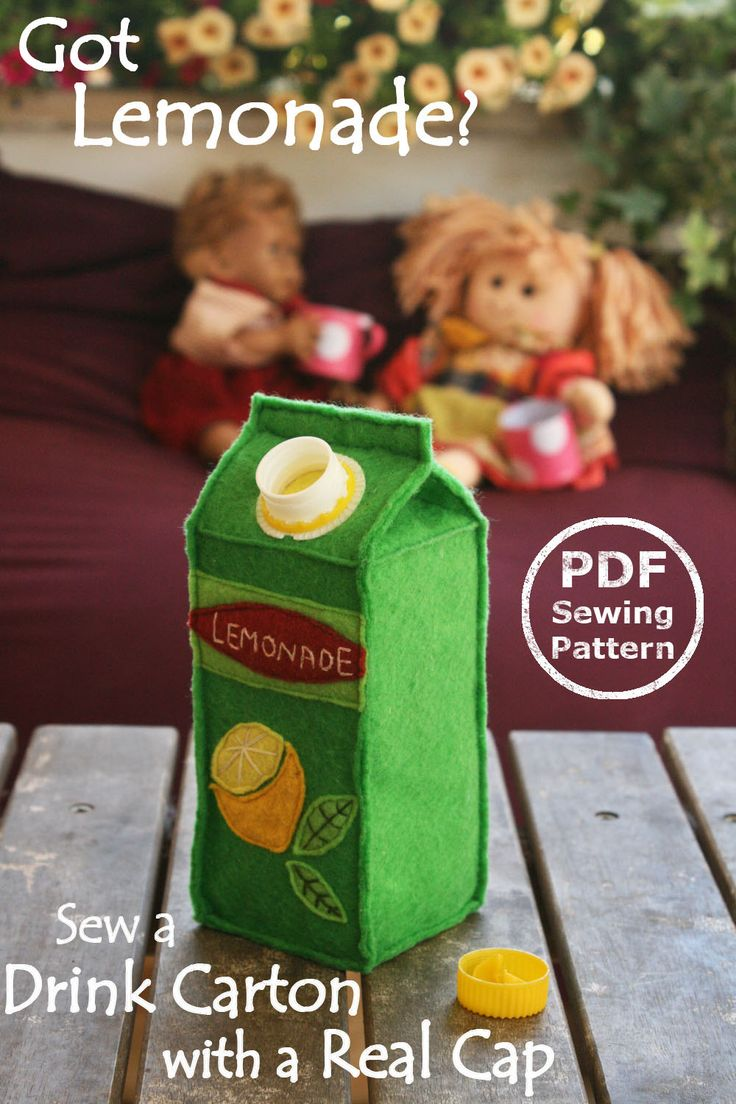 Felt Food Juice Carton PDF Sewing Pattern- Interactive Softie with real screw…
