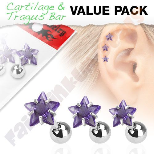 Tragus-Cartilage-Stud-with-Purple-Jewelled-Star-3-Piece-Pack