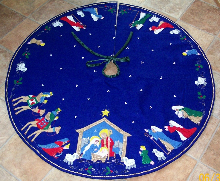 Nativity Felt Applique Tree Skirt With Beading and Embroidery Free Shipping. $495.00, via Etsy.