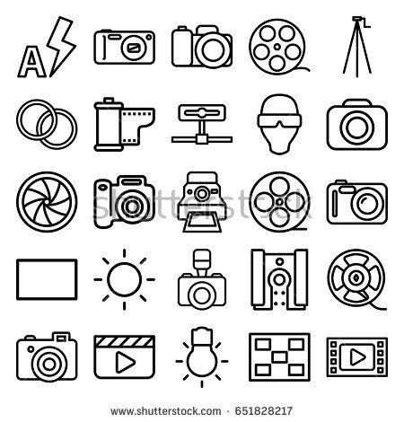 Camera icons set. set of 25 camera outline icons such as movie tape, film tape, burst, contrast, auto flash, photo, man in smart glasses
