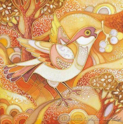 """Фантазийные сюжеты ручной работы. Ярмарка Мастеров - ручная работа Батик """"Солнечная птица"""". Handmade."""