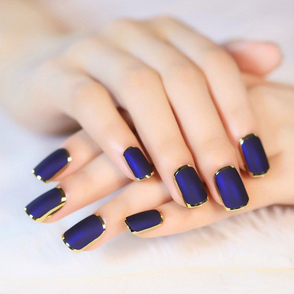 $5.40 Stylish 24 PCS Golden Edge Frosted Blueviolet Nail Art False Nails