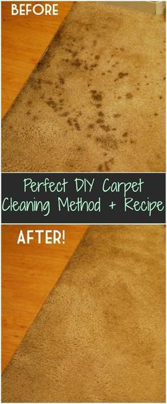 Perfect DIY Carpet Cleaning Method Recipe - 1 part vinegar, 2 parts water. Mix together in spray bottle. Spray stain and cover with damp rag. Set your iron on stain release (high steam setting) and iron over rag about 30 seconds. May have to repeat a couple of times depending on stain. This is only for ORGANIC stains. (Food, pets, dirt, etc). DO NOT USE FOR INK!