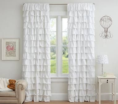 Ruffle Blackout Panel 44 X White At Pottery Barn Kids   Blackout Curtains    Kidsu0027 Bedroom Drapes