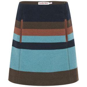 See by Chloe Women's Block Stripe Wool Skirt - Brown/Blue