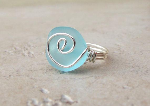 Ocean Blue Sea Glass Ring: Silberdraht gewickelt Turquoise Blue Beach Schmuck, Größe 7 auf Etsy, 13,38€