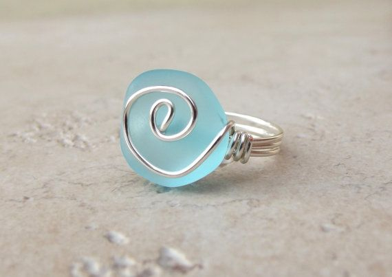 Ocean Blue Sea Glass Ring:  Silver Wire Wrapped Turquoise Blue Beach Jewelry, Size 7