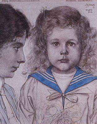 Toorop, Jan.' J.Deurvorst-Vonk de Both en M. Deurvorst '. 1910. Crayons and pencil on paper.
