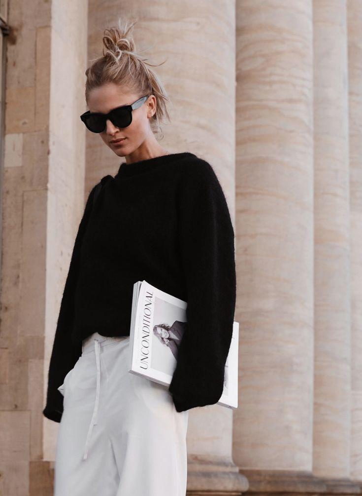Céline baby Audrey sunglasses, Acne Studios knit, Cos silk trousers, Céline bag and boots. Via Mija