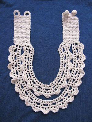 This Irish lace piece is inspired by vintage collars that can be worn as a necklace {with a long black, sateen dress for an ultimate dramatic effect}, or as a collar over plain dresses, blouses or shirts as the inevitable vintage detail. It is crocheted in ecru, but it would also be perfect in white.