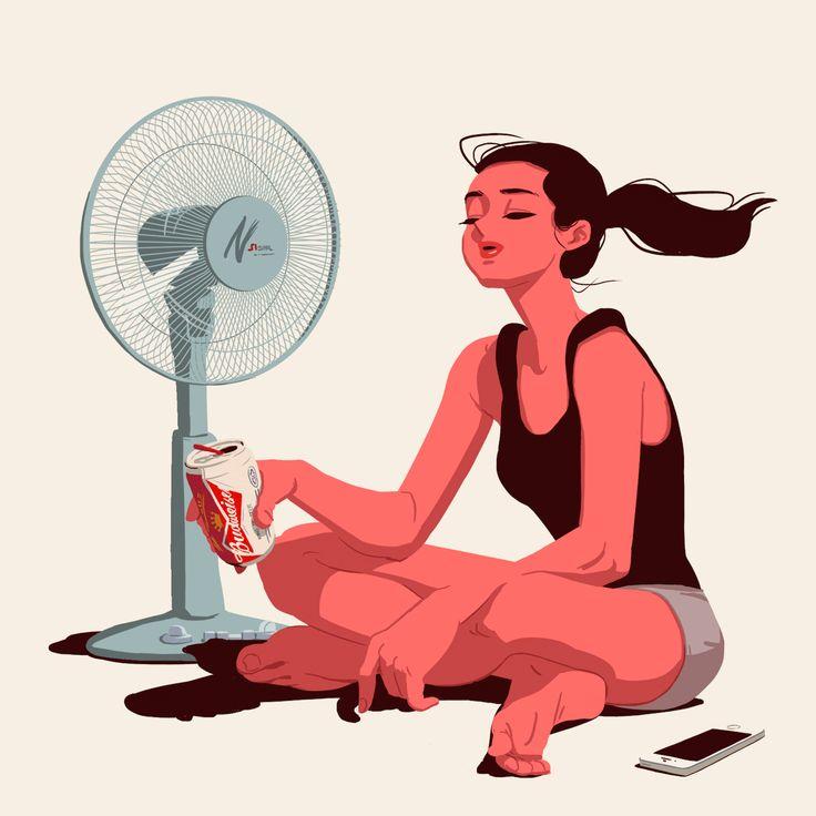 girl loop hot illustration summer
