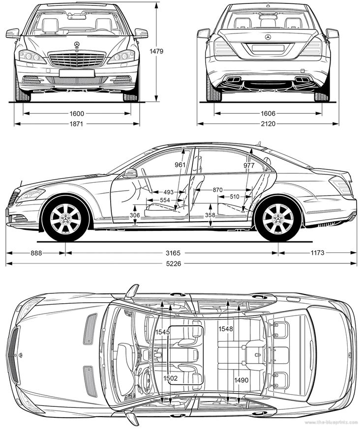Download free Mercedes-Benz S-Class W221 blueprints